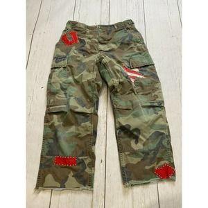 Camo Noy upcycled patch studded capri pants